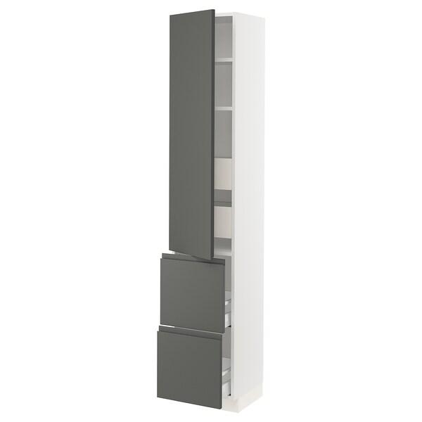 """SEKTION / MAXIMERA Armoire haute porte/2 faces/4 tir, blanc/Voxtorp gris foncé, 15x15x80 """""""