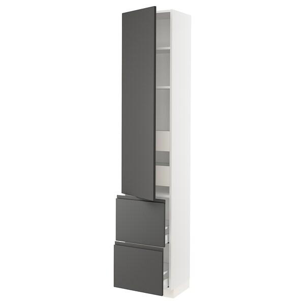 """SEKTION / MAXIMERA Armoire haute porte/2 faces/4 tir, blanc/Voxtorp gris foncé, 18x15x90 """""""