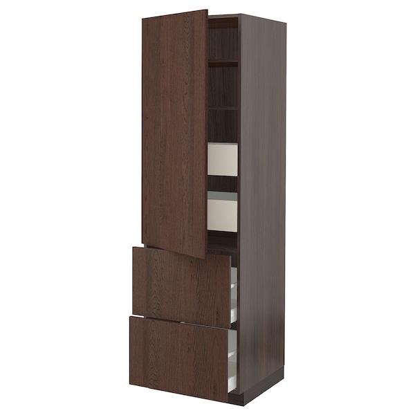 "SEKTION / MAXIMERA Armoire haute porte/2 faces/4 tir, brun/Sinarp brun, 24x24x80 """