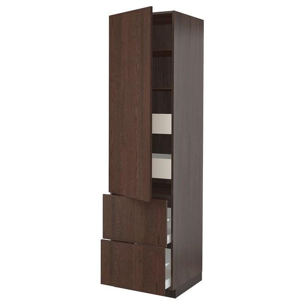 "SEKTION / MAXIMERA Armoire haute porte/2 faces/4 tir, brun/Sinarp brun, 24x24x90 """