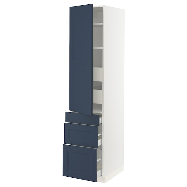 "SEKTION / MAXIMERA Armoire haute porte/3 faces/5 tir, blanc Axstad/mat bleu, 18x24x80 """