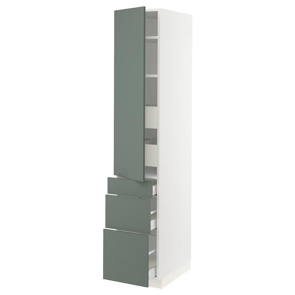 "SEKTION / MAXIMERA Armoire haute porte/3 faces/5 tir, blanc/Bodarp gris-vert, 15x24x80 """