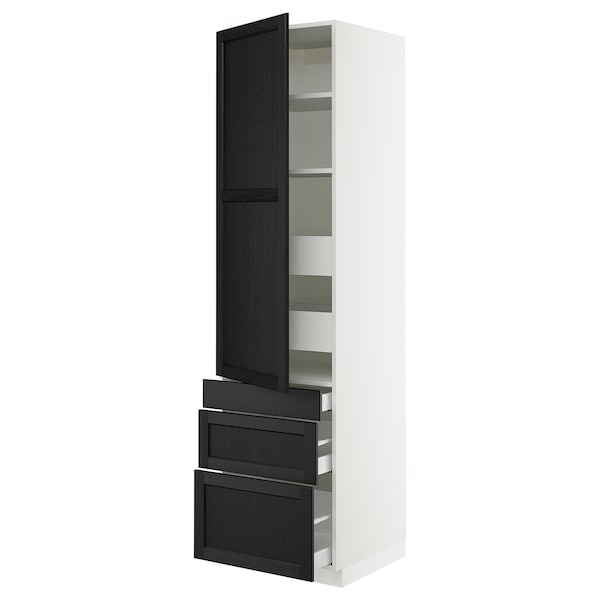 "SEKTION / MAXIMERA Armoire haute porte/3 faces/5 tir, blanc/Lerhyttan teinté noir, 24x24x90 """