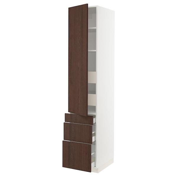 "SEKTION / MAXIMERA Armoire haute porte/3 faces/5 tir, blanc/Sinarp brun, 18x24x90 """