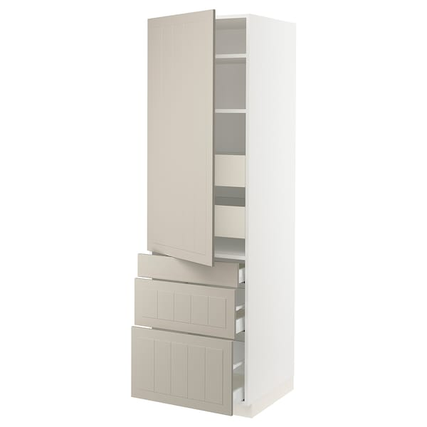 "SEKTION / MAXIMERA Armoire haute porte/3 faces/5 tir, blanc/Stensund beige, 24x24x80 """