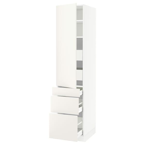 "SEKTION / MAXIMERA Armoire haute porte/3 faces/5 tir, blanc/Veddinge blanc, 18x24x80 """