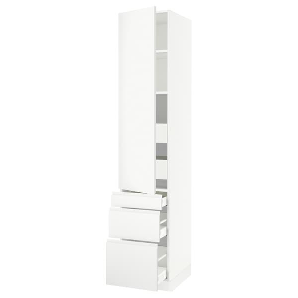 """SEKTION / MAXIMERA Armoire haute porte/3 faces/5 tir, blanc/Voxtorp blanc mat, 18x24x90 """""""