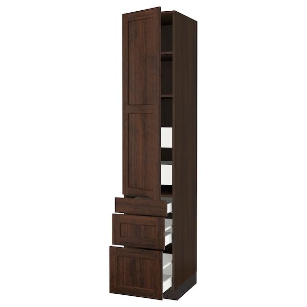 "SEKTION / MAXIMERA Armoire haute porte/3 faces/5 tir, brun/Edserum brun, 18x24x90 """