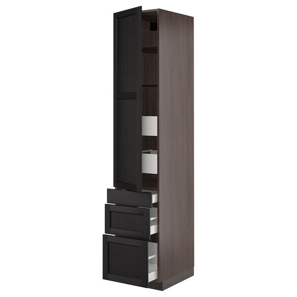 "SEKTION / MAXIMERA Armoire haute porte/3 faces/5 tir, brun/Lerhyttan teinté noir, 18x24x90 """