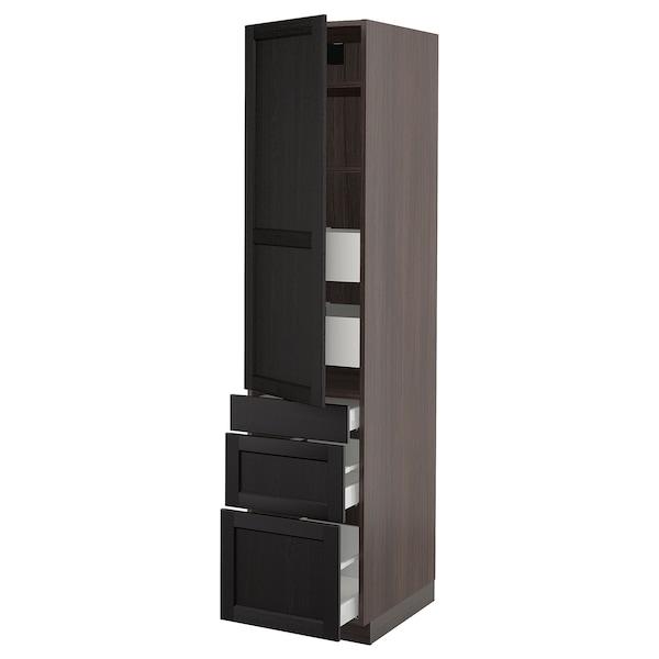 "SEKTION / MAXIMERA Armoire haute porte/3 faces/5 tir, brun/Lerhyttan teinté noir, 18x24x80 """