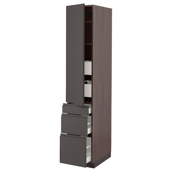 """SEKTION / MAXIMERA Armoire haute porte/3 faces/5 tir, brun/Voxtorp gris foncé, 15x24x80 """""""