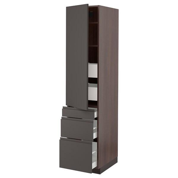 """SEKTION / MAXIMERA Armoire haute porte/3 faces/5 tir, brun/Voxtorp gris foncé, 18x24x80 """""""