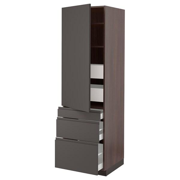"""SEKTION / MAXIMERA Armoire haute porte/3 faces/5 tir, brun/Voxtorp gris foncé, 24x24x80 """""""