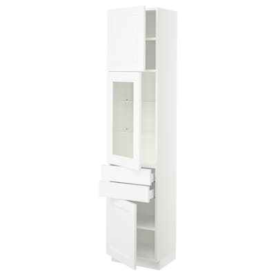 "SEKTION / MAXIMERA Armoire haute pte vitr/2 tir/2 ptes, blanc/Axstad blanc mat, 18x15x80 """