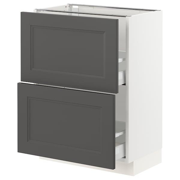 "SEKTION / MAXIMERA Armoire inf 2 tir, blanc/Axstad gris foncé, 24x15x30 """