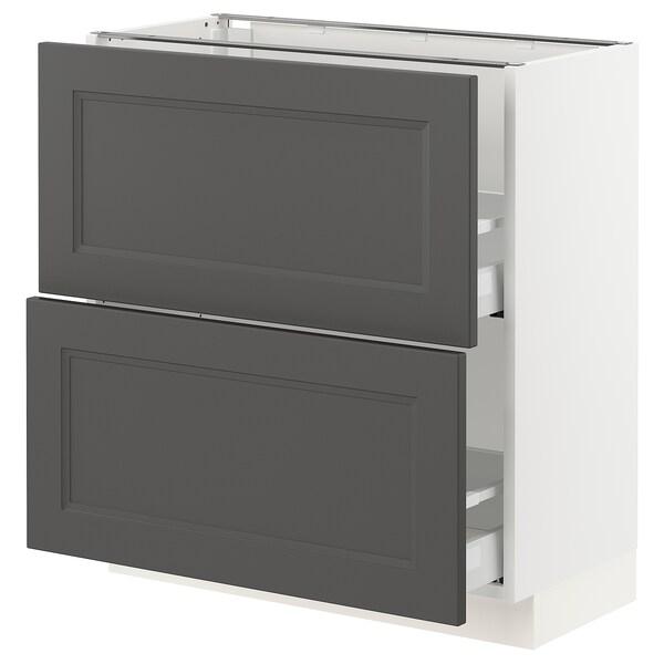 "SEKTION / MAXIMERA Armoire inf 2 tir, blanc/Axstad gris foncé, 30x15x30 """