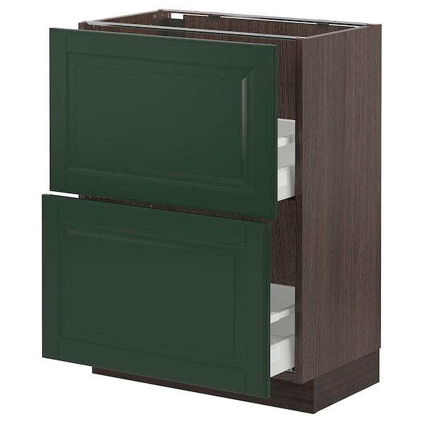 "SEKTION / MAXIMERA Armoire inf 2 tir, brun/Bodbyn vert foncé, 24x15x30 """