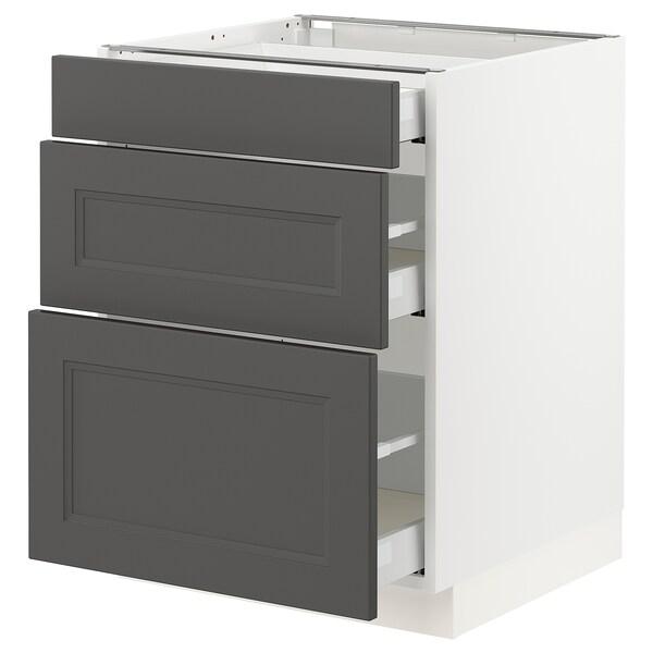 "SEKTION / MAXIMERA Armoire inf 3 tir, blanc/Axstad gris foncé, 24x24x30 """