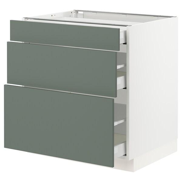 "SEKTION / MAXIMERA Armoire inf 3 tir, blanc/Bodarp gris-vert, 30x24x30 """