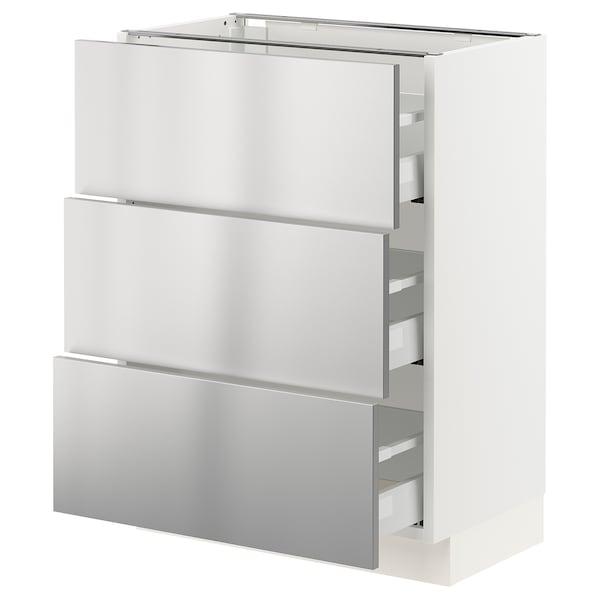 "SEKTION / MAXIMERA Armoire inf 3 tir, blanc/Vårsta acier inox, 24x15x30 """