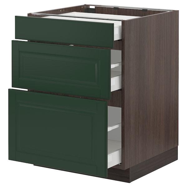 "SEKTION / MAXIMERA Armoire inf 3 tir, brun/Bodbyn vert foncé, 24x24x30 """