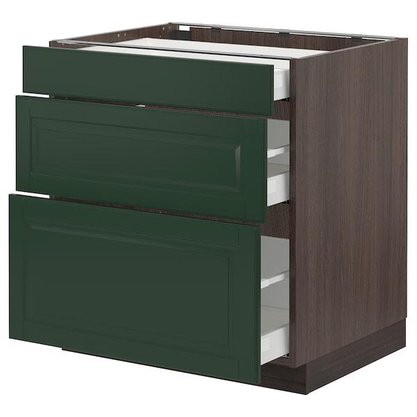 "SEKTION / MAXIMERA Armoire inf 3 tir, brun/Bodbyn vert foncé, 30x24x30 """