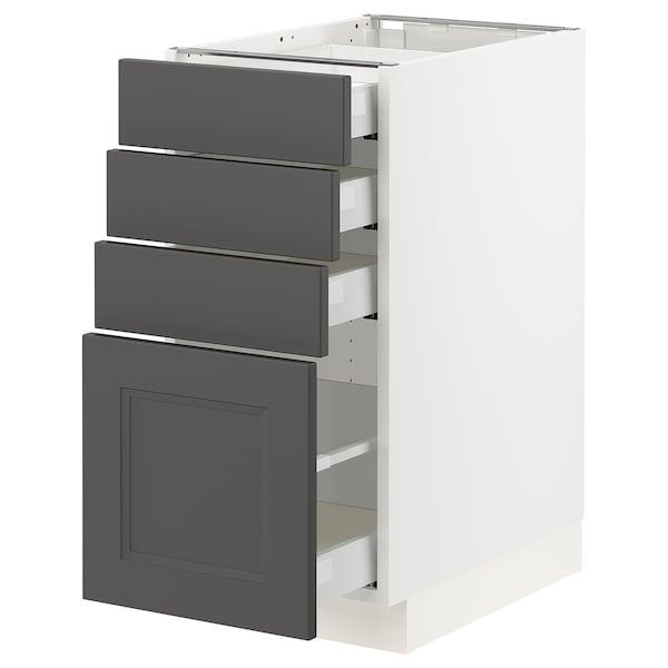 "SEKTION / MAXIMERA Armoire inf 4 tir, blanc/Axstad gris foncé, 15x24x30 """