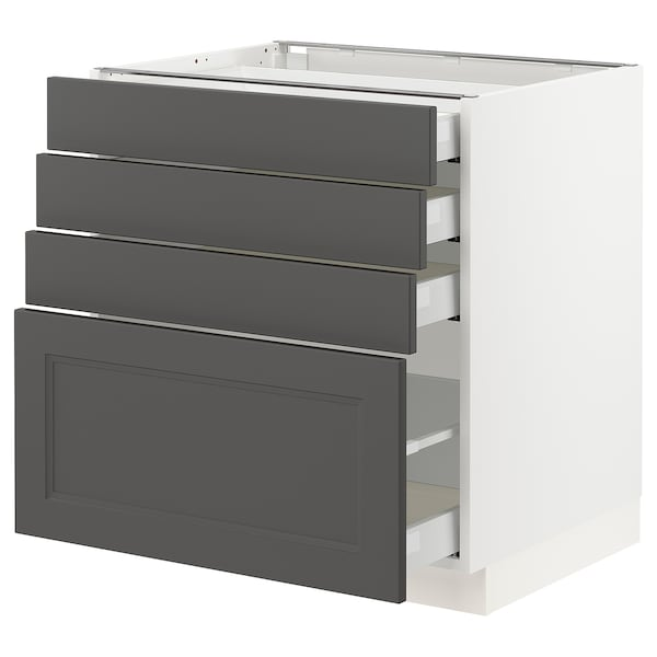 "SEKTION / MAXIMERA Armoire inf 4 tir, blanc/Axstad gris foncé, 30x24x30 """