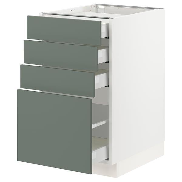 "SEKTION / MAXIMERA Armoire inf 4 tir, blanc/Bodarp gris-vert, 18x24x30 """