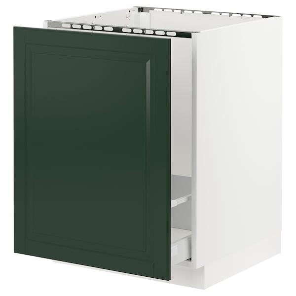 "SEKTION / MAXIMERA Armoire inf évier/tri déchets, blanc/Bodbyn vert foncé, 24x24x30 """