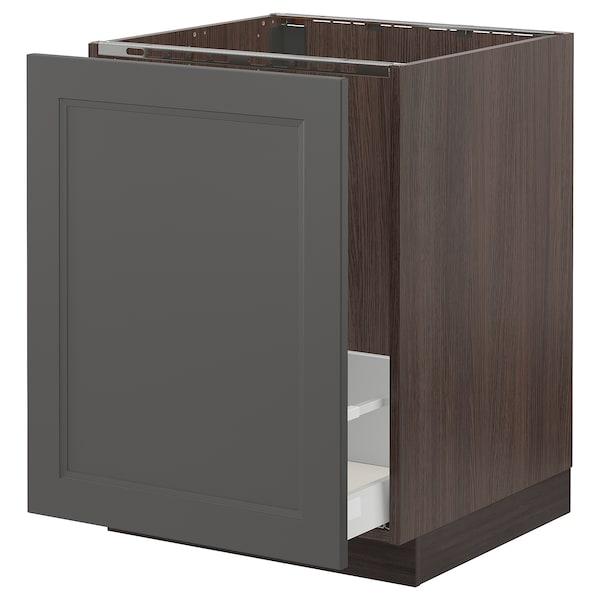 """SEKTION / MAXIMERA Armoire inf évier/tri déchets, brun/Axstad gris foncé, 24x24x30 """""""