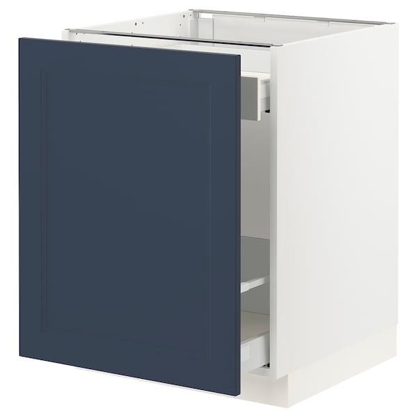 "SEKTION / MAXIMERA Armoire inf tri/1 pte, blanc Axstad/mat bleu, 24x24x30 """