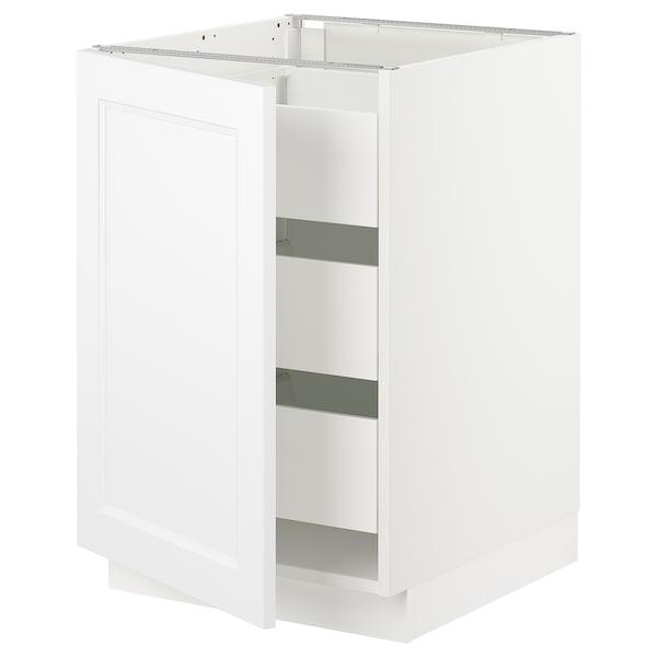 "SEKTION / MAXIMERA Armoire inférieure 1 pte/3 tir, blanc/Axstad blanc mat, 21x24x30 """