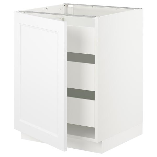 "SEKTION / MAXIMERA Armoire inférieure 1 pte/3 tir, blanc/Axstad blanc mat, 24x24x30 """