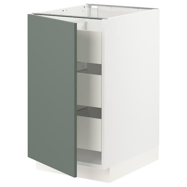 "SEKTION / MAXIMERA Armoire inférieure 1 pte/3 tir, blanc/Bodarp gris-vert, 18x24x30 """