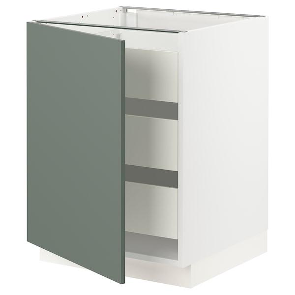 "SEKTION / MAXIMERA Armoire inférieure 1 pte/3 tir, blanc/Bodarp gris-vert, 24x24x30 """