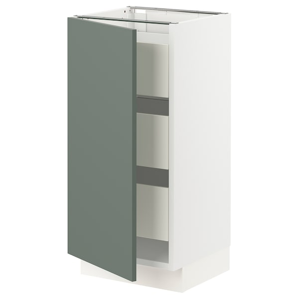 "SEKTION / MAXIMERA Armoire inférieure 1 pte/3 tir, blanc/Bodarp gris-vert, 15x15x30 """