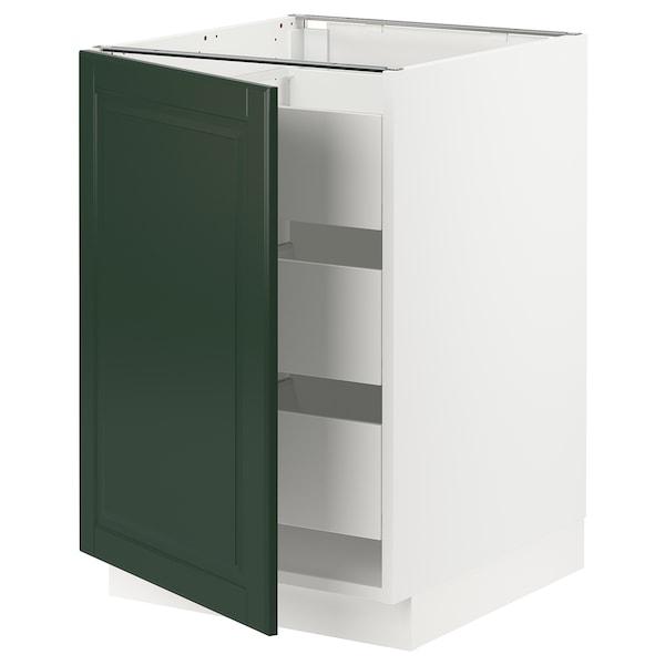 "SEKTION / MAXIMERA Armoire inférieure 1 pte/3 tir, blanc/Bodbyn vert foncé, 21x24x30 """