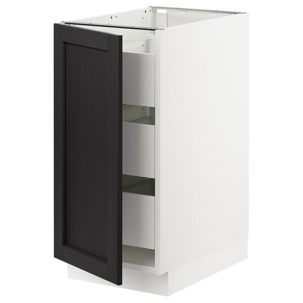 "SEKTION / MAXIMERA Armoire inférieure 1 pte/3 tir, blanc/Lerhyttan teinté noir, 15x24x30 """
