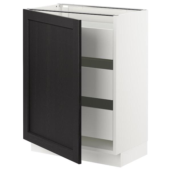 "SEKTION / MAXIMERA Armoire inférieure 1 pte/3 tir, blanc/Lerhyttan teinté noir, 24x15x30 """