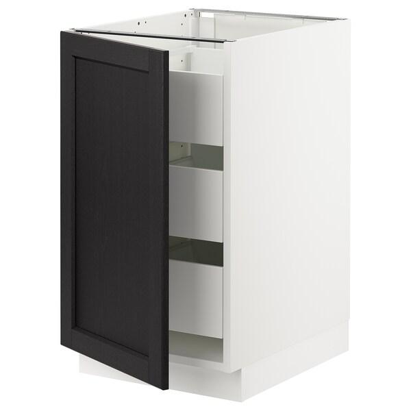 "SEKTION / MAXIMERA Armoire inférieure 1 pte/3 tir, blanc/Lerhyttan teinté noir, 18x24x30 """