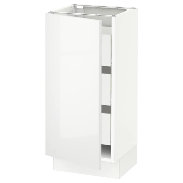 "SEKTION / MAXIMERA Armoire inférieure 1 pte/3 tir, blanc/Ringhult blanc, 15x15x30 """