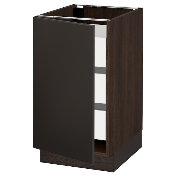 SEKTION / MAXIMERA Armoire inférieure 1 pte/3 tir, brun/Kungsbacka anthracite, 18x24x30 ""
