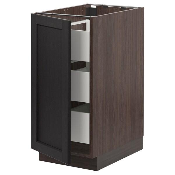"SEKTION / MAXIMERA Armoire inférieure 1 pte/3 tir, brun/Lerhyttan teinté noir, 15x24x30 """