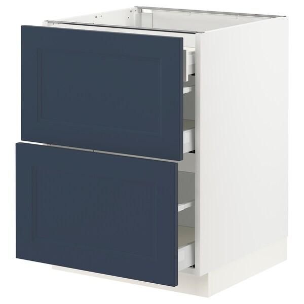 "SEKTION / MAXIMERA Armoire inférieure 2 façades/3 tir, blanc Axstad/mat bleu, 24x24x30 """