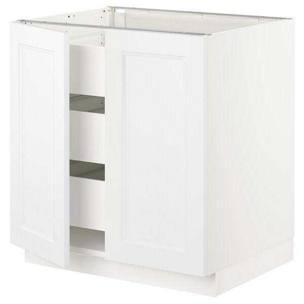 "SEKTION / MAXIMERA Armoire inférieure 2 ptes/3 tir, blanc/Axstad blanc mat, 30x24x30 """