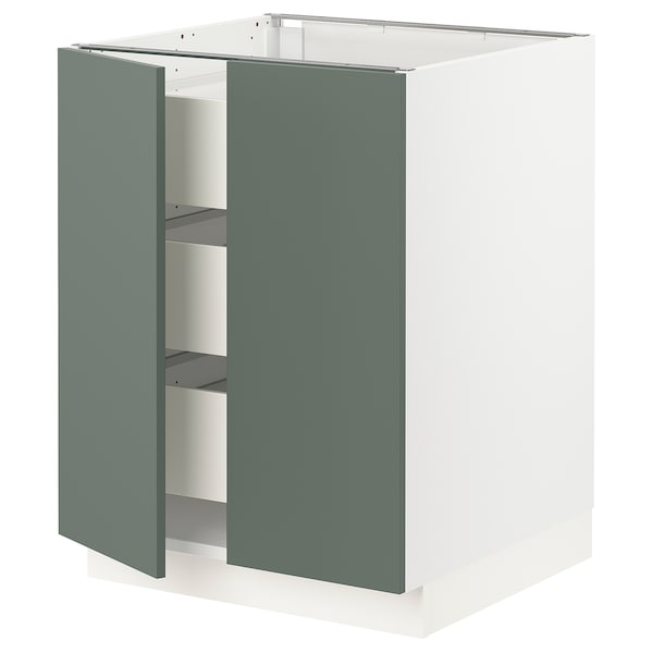 "SEKTION / MAXIMERA Armoire inférieure 2 ptes/3 tir, blanc/Bodarp gris-vert, 24x24x30 """