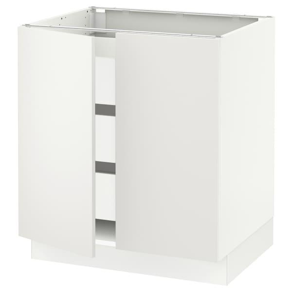 "SEKTION / MAXIMERA Armoire inférieure 2 ptes/3 tir, blanc/Häggeby blanc, 30x24x30 """