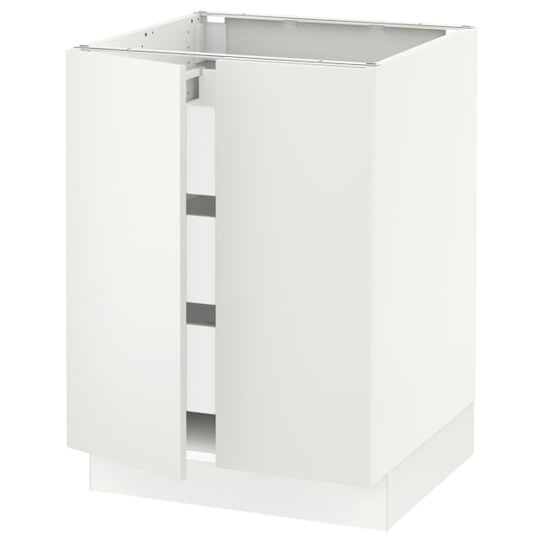 "SEKTION / MAXIMERA Armoire inférieure 2 ptes/3 tir, blanc/Häggeby blanc, 24x24x30 """