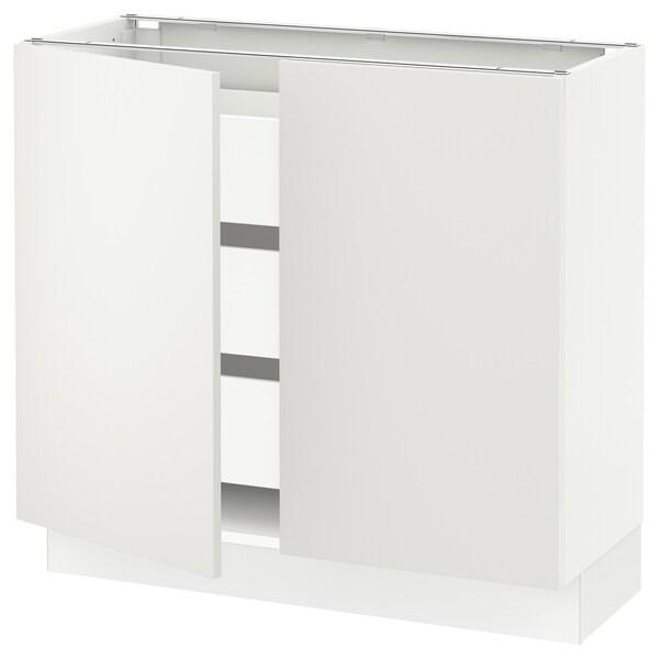 "SEKTION / MAXIMERA Armoire inférieure 2 ptes/3 tir, blanc/Häggeby blanc, 36x15x30 """